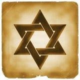Estrella del símbolo de David en el papel viejo Foto de archivo
