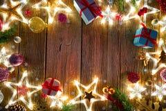 Estrella del vintage de la postal del fondo de la Navidad imágenes de archivo libres de regalías