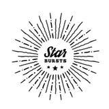 Estrella del vintage del estilo del inconformista estallada con el rayo Fotos de archivo