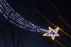 Estrella el caer de las bombillas de la guirnalda de la Navidad en la noche Imágenes de archivo libres de regalías