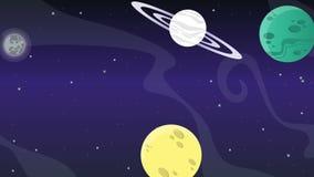 Estrella en espacio con la animación del cohete del planeta stock de ilustración