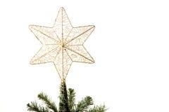 Estrella encima del árbol de navidad Foto de archivo