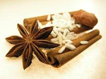 Estrella, especia y arroz Foto de archivo libre de regalías