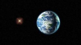 Estrella estallada cerca de la tierra ilustración del vector