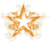Estrella floral del grunge del oro Imágenes de archivo libres de regalías