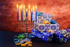 Estrella judía de Jánuca del día de fiesta del menorah de David Imagen de archivo