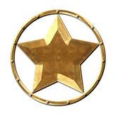 Estrella Logo Steel Gold del metal Imágenes de archivo libres de regalías