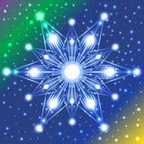 Estrella luminosa con las luces en sus rayos en el fondo violeta, verde, azul y amarillo de la pendiente con el un montón de chis Fotos de archivo libres de regalías