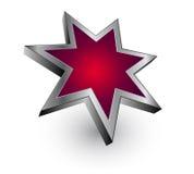 Estrella metálica roja de la insignia - vector Fotografía de archivo libre de regalías
