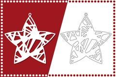 Estrella moderna de la Navidad El juguete del Año Nuevo para el corte del laser Ilustración del vector ilustración del vector
