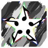 Estrella musical de la cuesta de la notación musical Fotografía de archivo