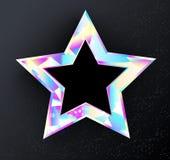 Estrella olográfica en fondo negro Imagenes de archivo