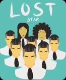 Estrella perdida cuando su estilo lo hace pegado en el centro para saber de dónde ilustración del vector