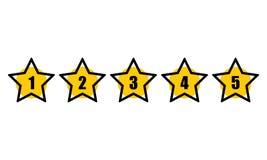 Estrella que valora la línea mínima del negro del diseño icono de cinco estrellas de la tarifa Concepto de la reacción Sistema de libre illustration