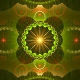 Estrella rodeada por un anillo y estructuras ornamentales onduladas con las pequeñas estrellas, todas en verde brillante, amarill Imagen de archivo