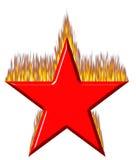 estrella roja 3D en el fuego Foto de archivo libre de regalías