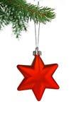 Estrella roja de la Navidad Foto de archivo libre de regalías
