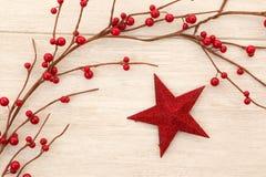 Estrella roja de la Navidad adornada con las bayas rojas Foto de archivo libre de regalías