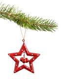 Estrella roja de la Navidad aislada en blanco Imagenes de archivo