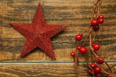 Estrella roja de la Navidad con la rama de bayas Fotos de archivo libres de regalías