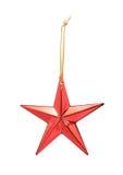 Estrella roja de la Navidad del brillo aislada Fotografía de archivo libre de regalías