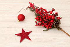 Estrella roja de la Navidad y bayas rojas Fotos de archivo