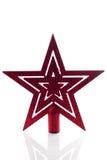 Estrella roja del árbol de navidad aislada Fotos de archivo libres de regalías