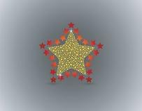 Estrella roja del oro Fotos de archivo