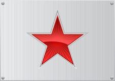 Estrella roja del vector en el fondo de aluminio Fotos de archivo libres de regalías