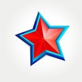 Estrella roja en el marco azul Imagen de archivo
