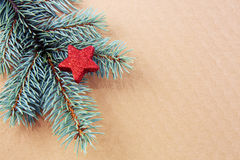 Estrella roja en la rama spruce verde aislada Foto de archivo libre de regalías