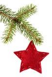 Estrella roja sentida aislada en blanco Imágenes de archivo libres de regalías