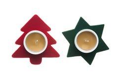 Estrella roja y árbol de pino verde Imágenes de archivo libres de regalías