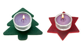 Estrella roja y decoración verde de la Navidad del árbol de pino Fotografía de archivo libre de regalías