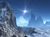 Estrella solitaria sobre el mundo extranjero del invierno Fotografía de archivo