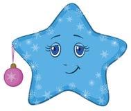 Estrella sonriente con la bola de la Navidad Fotografía de archivo