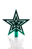 Estrella verde del árbol de navidad aislada Imágenes de archivo libres de regalías
