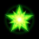 Estrella verde del fuego. Fotografía de archivo