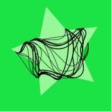 Estrella verde mágica con el fondo negro de la cuerda Fotos de archivo