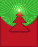 Estrella verde roja del árbol de la enhorabuena de la Navidad Foto de archivo