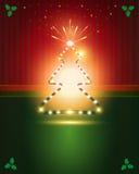 Estrella verde roja del árbol de las tarjetas de Navidad Fotografía de archivo