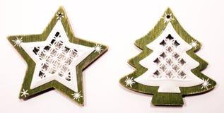 Estrella y árbol de las decoraciones de la Navidad Imagen de archivo libre de regalías