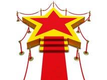 Estrella y alfombra del podio fotografía de archivo