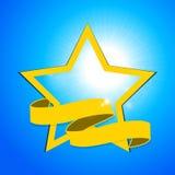 Estrella y bandera amarillas sobre el cielo azul Fotografía de archivo
