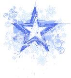 Estrella y copos de nieve de Grunge Fotografía de archivo libre de regalías