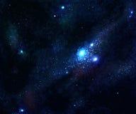 Estrella y galaxia azul del espacio Fotos de archivo libres de regalías