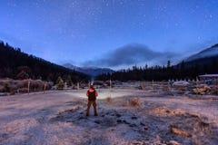 Estrellado sobre el templo de Cuopu Fotografía de archivo libre de regalías
