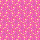 Estrellas amarillas, verdes y azules brillantes sobre fondo rosado en un modelo inconsútil ilustración del vector
