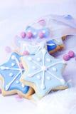 Estrellas azules de las galletas de la Navidad Imágenes de archivo libres de regalías