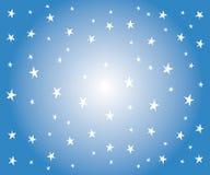 Estrellas blancas en fondo azul stock de ilustración
